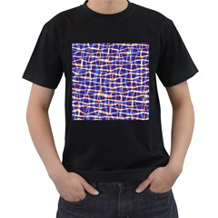Surface Pattern Net Chevron Brown Blue Plaid Men s T Shirt (black)