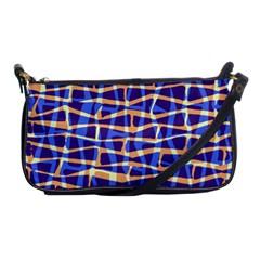 Surface Pattern Net Chevron Brown Blue Plaid Shoulder Clutch Bags