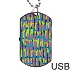 Surface Pattern Green Dog Tag Usb Flash (two Sides)