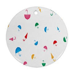 Umbrella Green Orange Red Blue Pink Water Rain Ornament (Round)