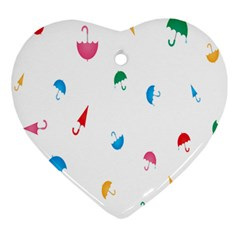 Umbrella Green Orange Red Blue Pink Water Rain Ornament (heart)