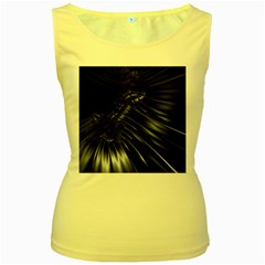 Fractal Mathematics Abstract Women s Yellow Tank Top