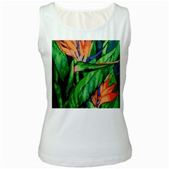 Flowers Art Beautiful Women s White Tank Top