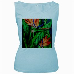 Flowers Art Beautiful Women s Baby Blue Tank Top