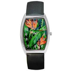 Flowers Art Beautiful Barrel Style Metal Watch