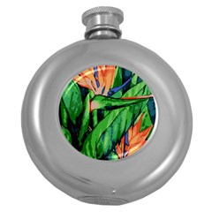 Flowers Art Beautiful Round Hip Flask (5 Oz)