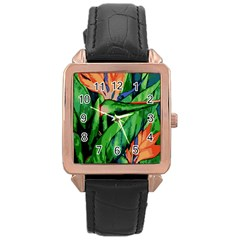 Flowers Art Beautiful Rose Gold Leather Watch