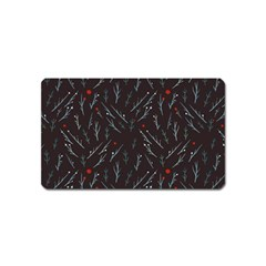 Tree Twigs Spot Blue Grey Magnet (Name Card)
