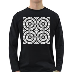 Pattern Tile Seamless Design Long Sleeve Dark T Shirts