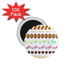 Sunflower Plaid Candy Star Cocolate Love Heart 1 75  Magnets (100 Pack)