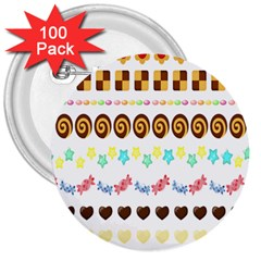 Sunflower Plaid Candy Star Cocolate Love Heart 3  Buttons (100 Pack)