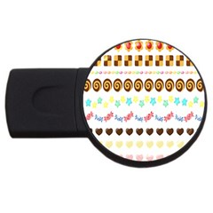 Sunflower Plaid Candy Star Cocolate Love Heart Usb Flash Drive Round (2 Gb)