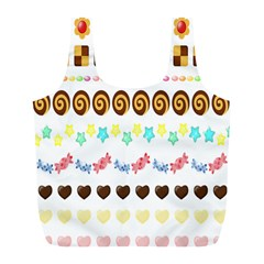 Sunflower Plaid Candy Star Cocolate Love Heart Full Print Recycle Bags (L)