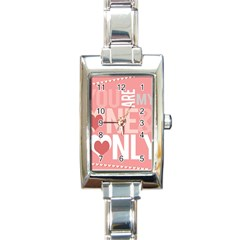 Valentines Day One Only Pink Heart Rectangle Italian Charm Watch