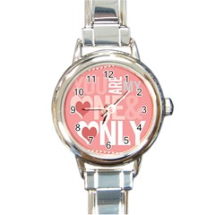 Valentines Day One Only Pink Heart Round Italian Charm Watch