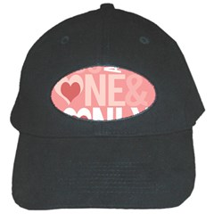 Valentines Day One Only Pink Heart Black Cap
