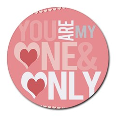 Valentines Day One Only Pink Heart Round Mousepads