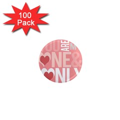 Valentines Day One Only Pink Heart 1  Mini Magnets (100 Pack)