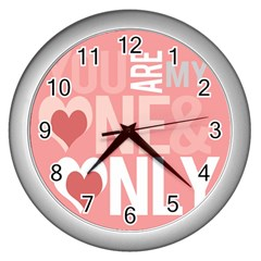 Valentines Day One Only Pink Heart Wall Clocks (silver)