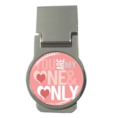 Valentines Day One Only Pink Heart Money Clips (Round)
