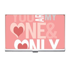 Valentines Day One Only Pink Heart Business Card Holders