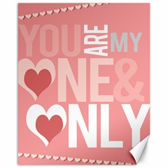 Valentines Day One Only Pink Heart Canvas 16  x 20
