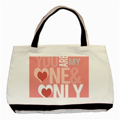 Valentines Day One Only Pink Heart Basic Tote Bag (Two Sides)