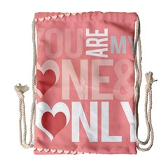 Valentines Day One Only Pink Heart Drawstring Bag (Large)