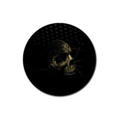 Skull Fantasy Dark Surreal Rubber Coaster (round)