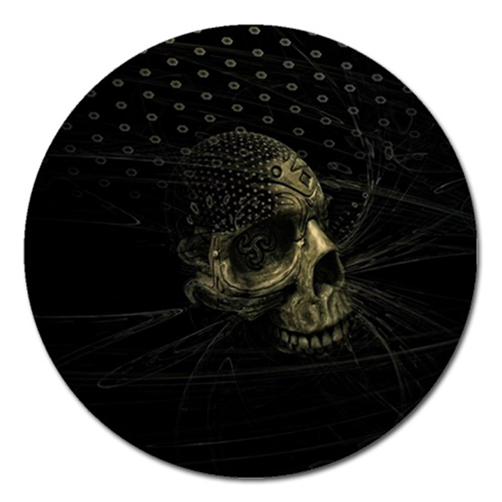 Skull Fantasy Dark Surreal Magnet 5  (Round)