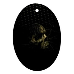 Skull Fantasy Dark Surreal Oval Ornament (two Sides)
