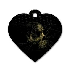 Skull Fantasy Dark Surreal Dog Tag Heart (One Side)