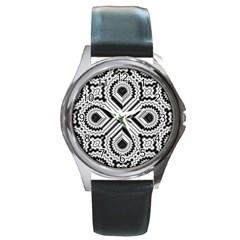 Pattern Tile Seamless Design Round Metal Watch