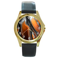 Fractal Structure Mathematic Round Gold Metal Watch