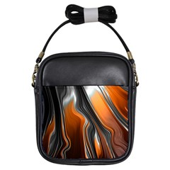 Fractal Structure Mathematic Girls Sling Bags