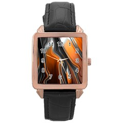 Fractal Structure Mathematic Rose Gold Leather Watch