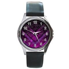 Purple Background Wallpaper Motif Design Round Metal Watch