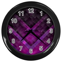 Purple Background Wallpaper Motif Design Wall Clocks (black)