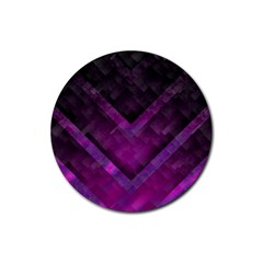 Purple Background Wallpaper Motif Design Rubber Coaster (round)