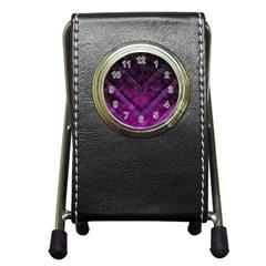 Purple Background Wallpaper Motif Design Pen Holder Desk Clocks