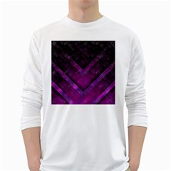 Purple Background Wallpaper Motif Design White Long Sleeve T Shirts
