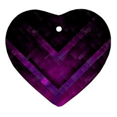 Purple Background Wallpaper Motif Design Heart Ornament (two Sides)