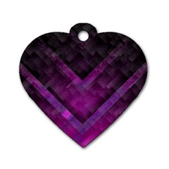 Purple Background Wallpaper Motif Design Dog Tag Heart (two Sides)