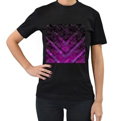Purple Background Wallpaper Motif Design Women s T Shirt (black)