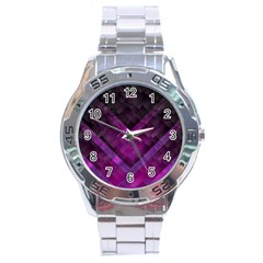 Purple Background Wallpaper Motif Design Stainless Steel Analogue Watch