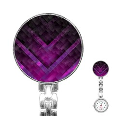 Purple Background Wallpaper Motif Design Stainless Steel Nurses Watch