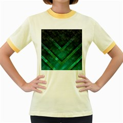 Green Background Wallpaper Motif Design Women s Fitted Ringer T Shirts
