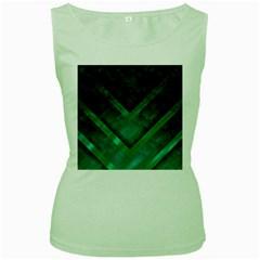 Green Background Wallpaper Motif Design Women s Green Tank Top