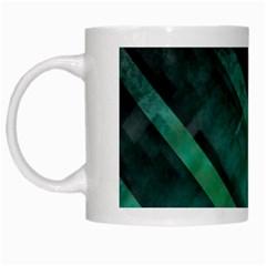Green Background Wallpaper Motif Design White Mugs