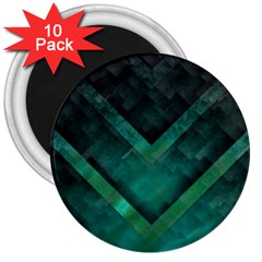 Green Background Wallpaper Motif Design 3  Magnets (10 Pack)